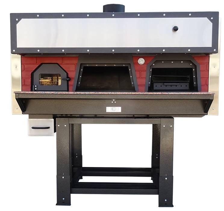 Forno doppia bocca per pizze con barbecue professionale