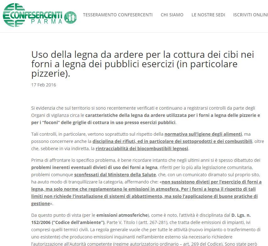 Confesercenti articolo multe legna non tracciata forni pizza
